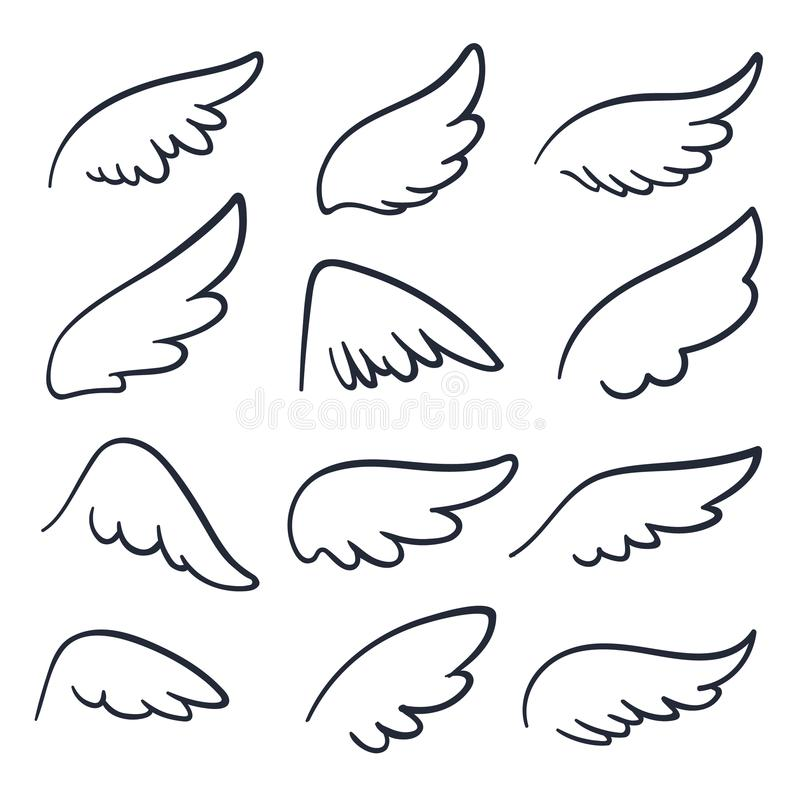 Cartoon angel wings. Winged doodle sketch icons. Angels and bird vector symbols isolated vector illustration