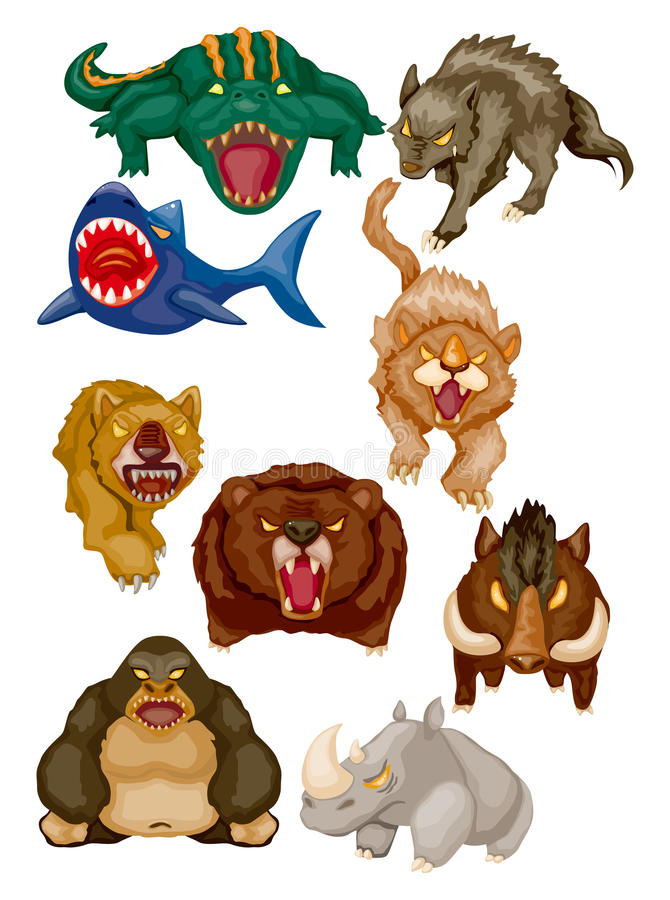 Free Cartoon Angry Animal Icons Royalty Free Stock Images - 21647379