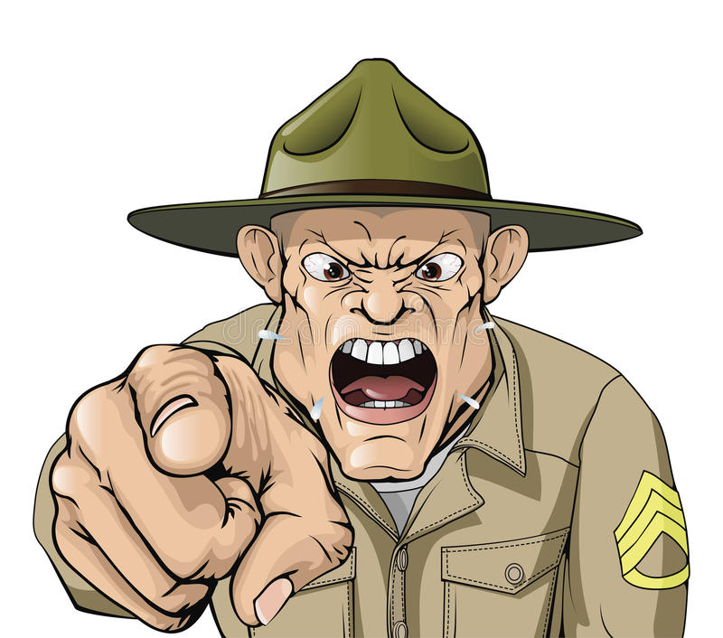 Cartoon angry army drill sergeant shouting royalty free illustration