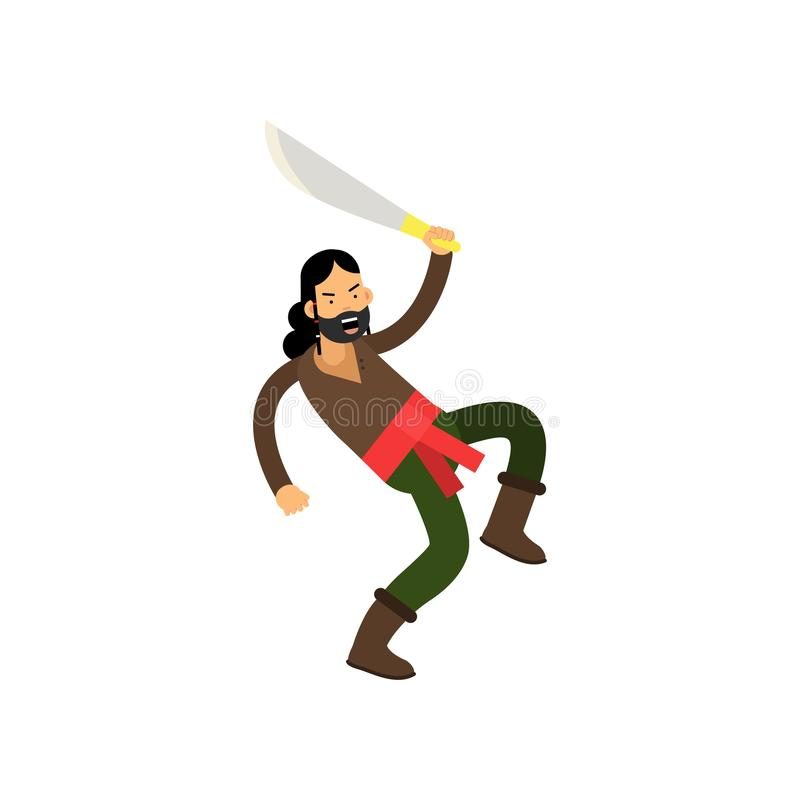 Cartoon angry bearded pirate character with sword in fighting pose, treasure hunter stock illustration