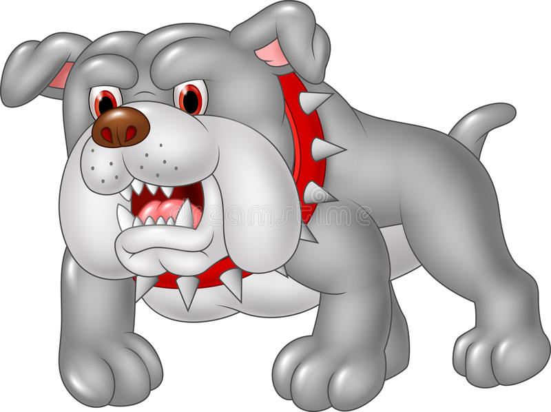 Cartoon angry bulldog isolated on white background stock illustration