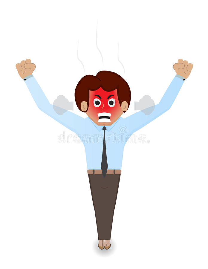 Cartoon angry businessman. Cartoon businessman angry with red face and yelling stock illustration