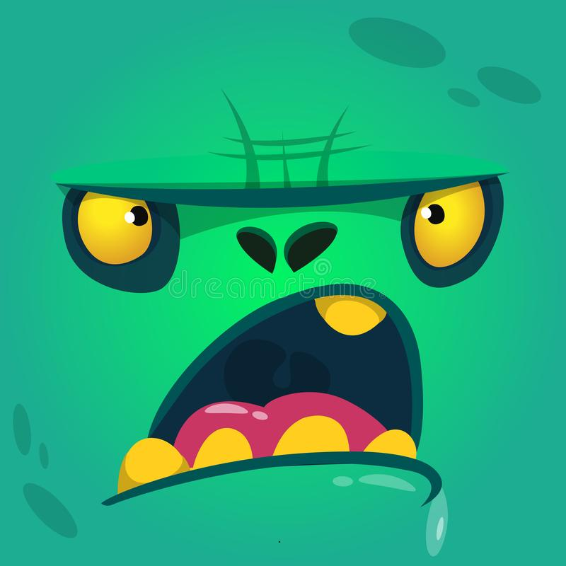 Cartoon angry and funny zombie face. Vector zombie monster square avatar. Cartoon angry and funny zombie face. Vector zombie monster square avatar vector illustration