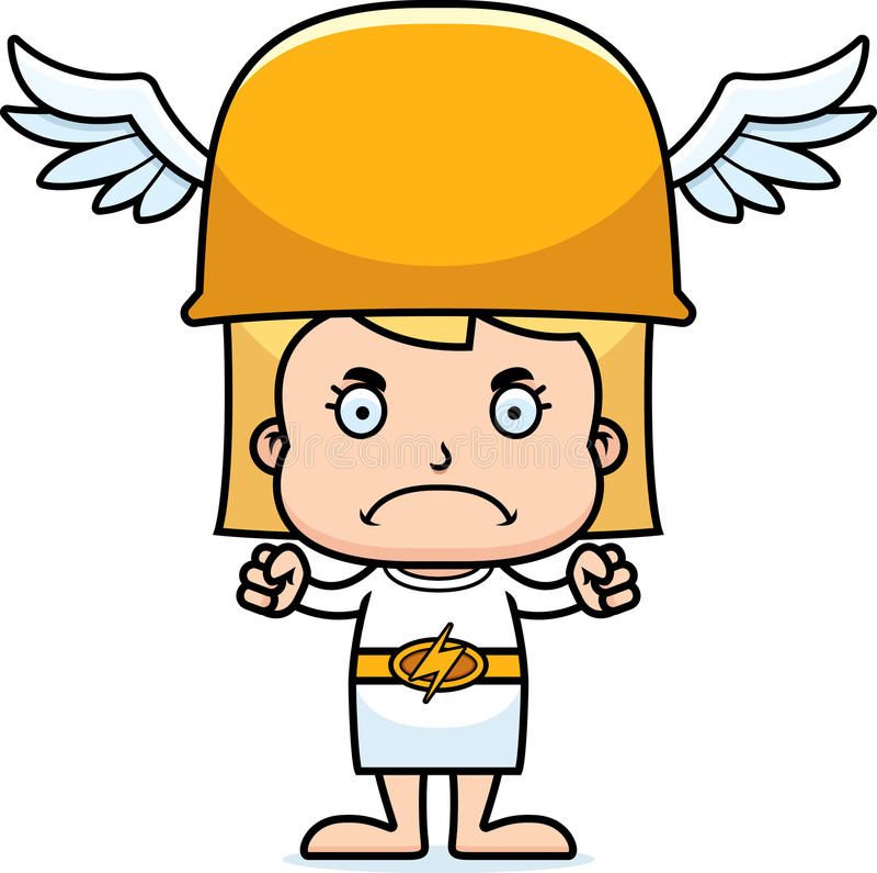 Cartoon Angry Hermes Girl Stock Vector - Image: 55479127