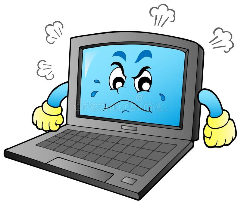 Download Cartoon angry laptop stock vector. Illustration of information - 19057418
