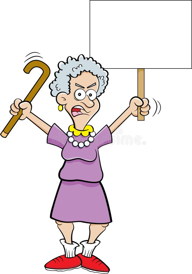 Cartoon angry senior citizen shaking a cane and holding a sign. Cartoon illustration of an angry senior citizen shaking a cane and holding a sign stock illustration