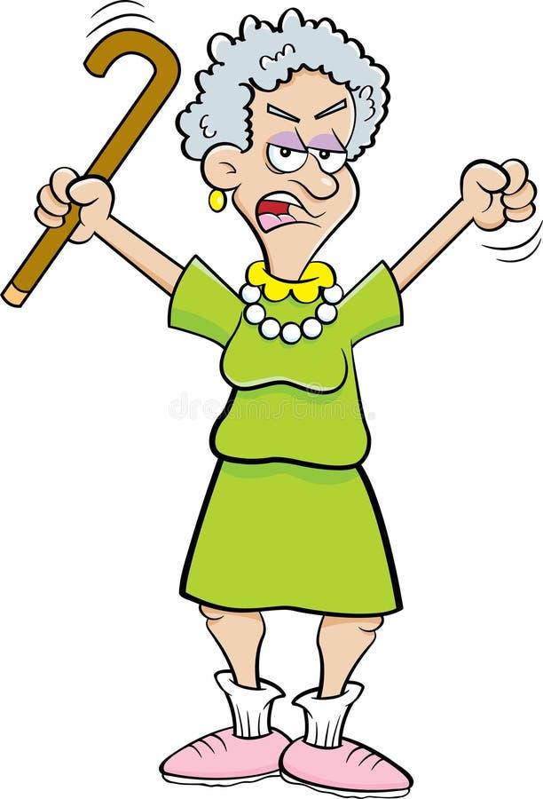 Cartoon Angry Senior Citizen Shaking A Cane. royalty free illustration