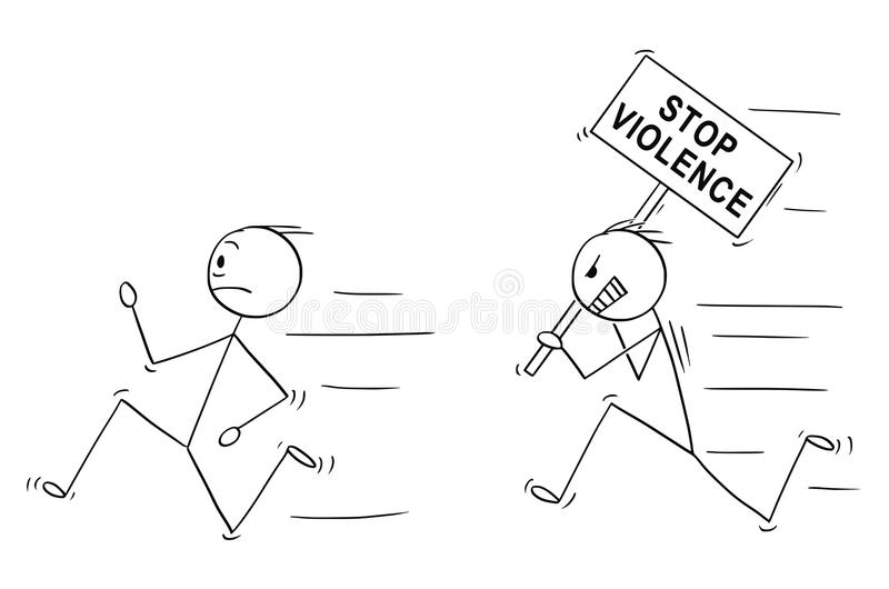 Cartoon of Angry Violent Man Holding Stop Violence Sign Chasing Another Man. Cartoon stick drawing conceptual illustration of angry violent man holding stop vector illustration