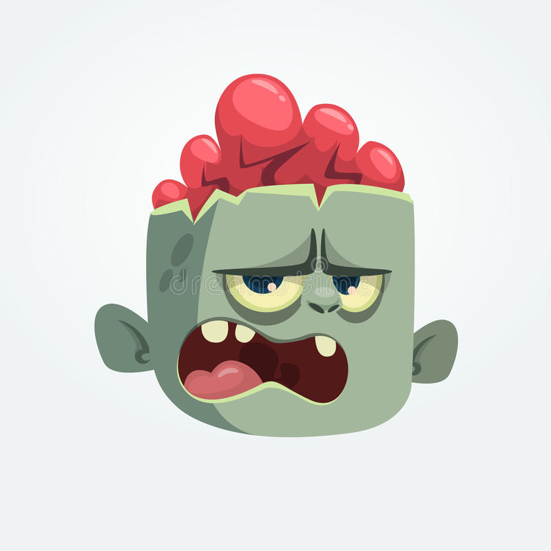 Cartoon angry zombie head screaming expression. Halloween vector illustration. royalty free illustration