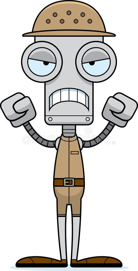 Cartoon Angry Zookeeper Robot royalty free illustration