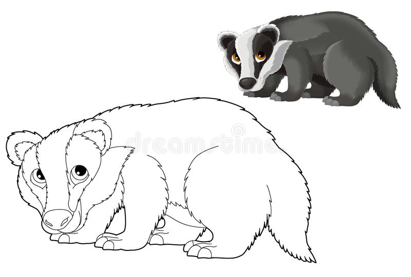 Download Cartoon Animal   Badger   Coloring Page Stock Illustration    Illustration Of Doodle, Isolated