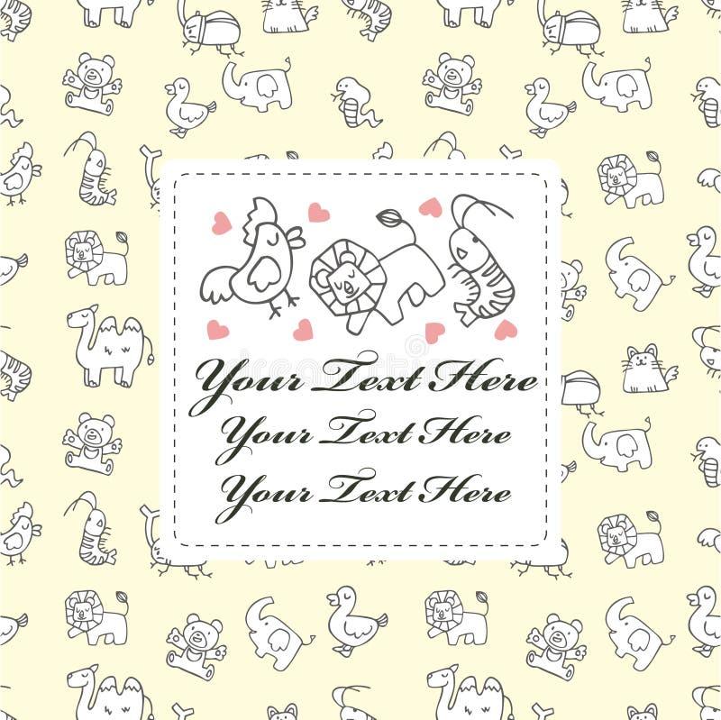 Download Cartoon animal card stock vector. Image of celebrate - 18435542