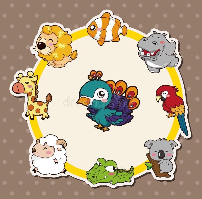 Cartoon animal card stock illustration