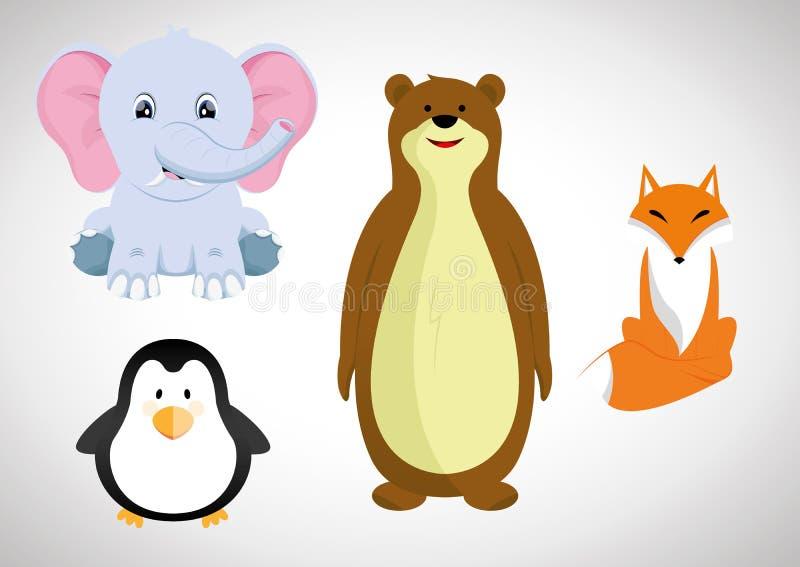 Cartoon Animal. Collection of Cute animal cartoon royalty free illustration