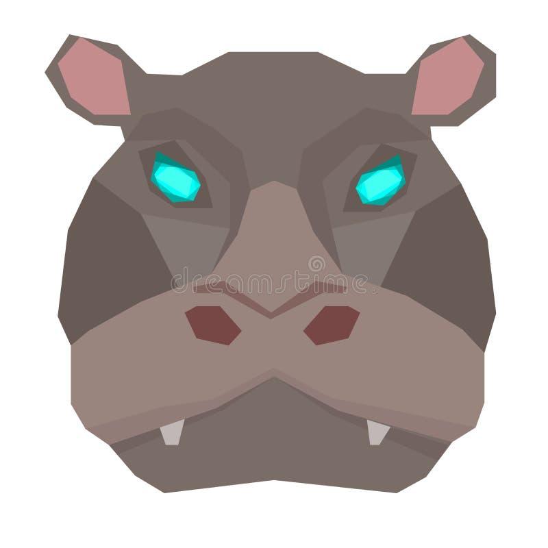Cartoon animal, cute hippo on white backgrounds. Flat design.Vector Illustration. royalty free illustration