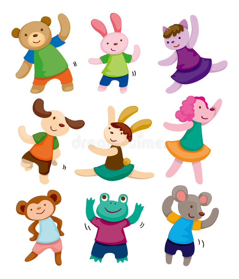 Cartoon animal dancer icons royalty free illustration