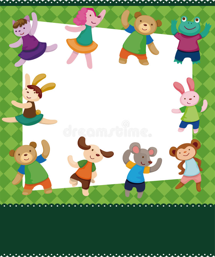 Cartoon animal dancer seamless pattern stock illustration