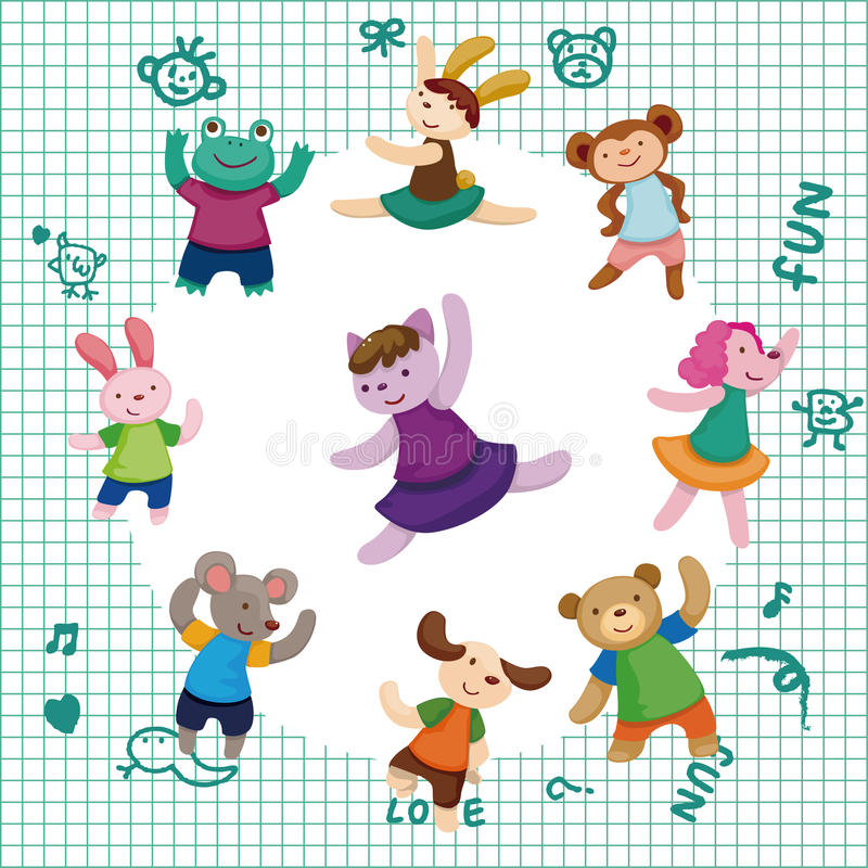 Download Cartoon Animal Dancer Seamless Pattern Stock Vector - Image: 22339332