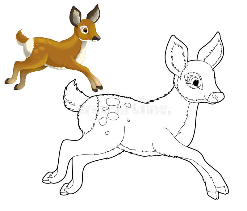 Cartoon Animal - Deer - Coloring Page Stock Illustration ...