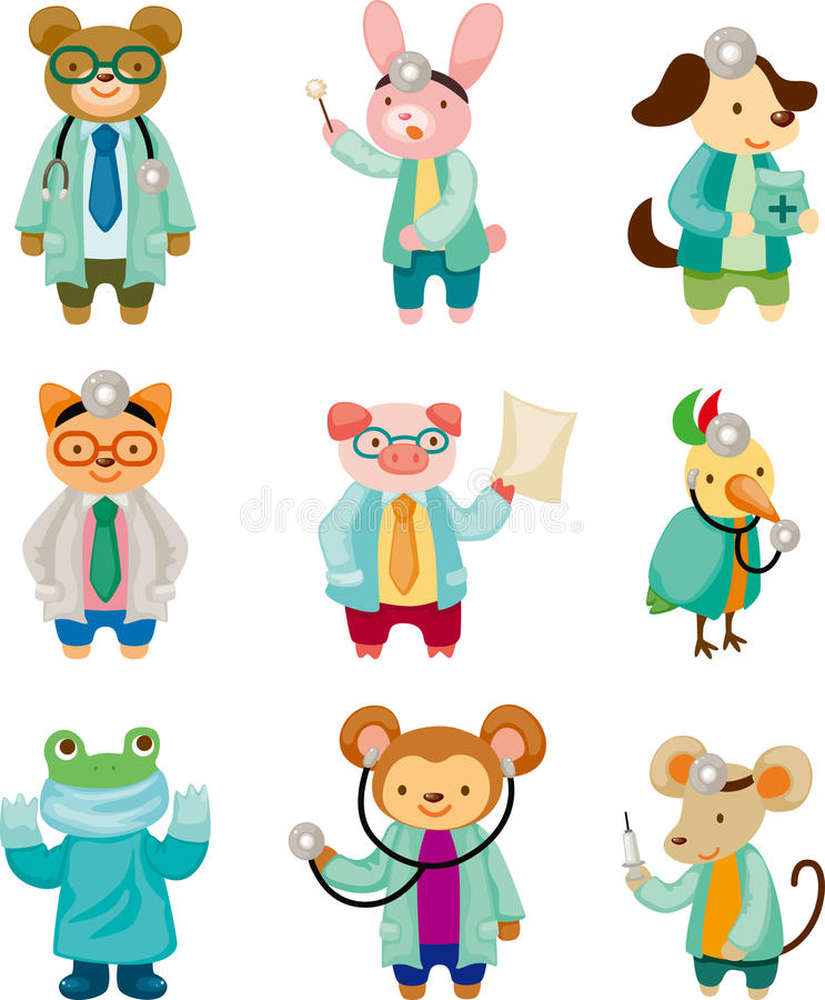 Cartoon animal doctor royalty free illustration