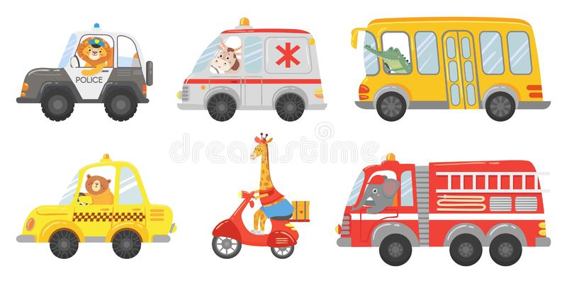 Cartoon animal driver. Animals in emergency ambulance, firetruck and police car. Zoo taxi, public bus and delivery truck royalty free illustration