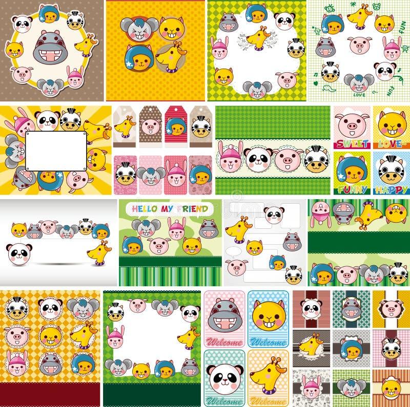 Cartoon animal face card stock illustration