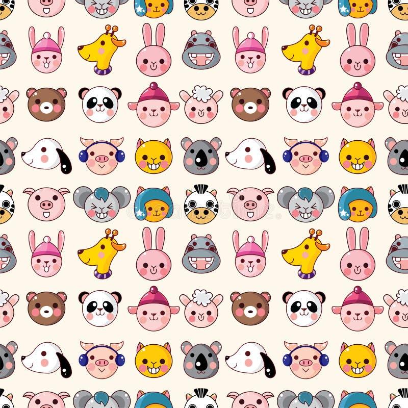 Cartoon animal face seamless pattern stock illustration