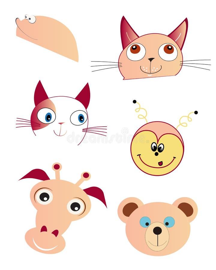 Cartoon animal faces vector illustration