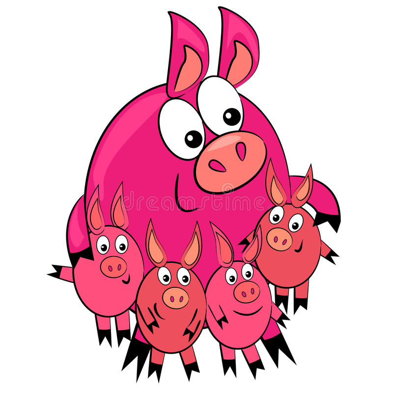 Download Cartoon Animal Family.pig Parent And Children Royalty Free Stock Photo - Image: 22526665