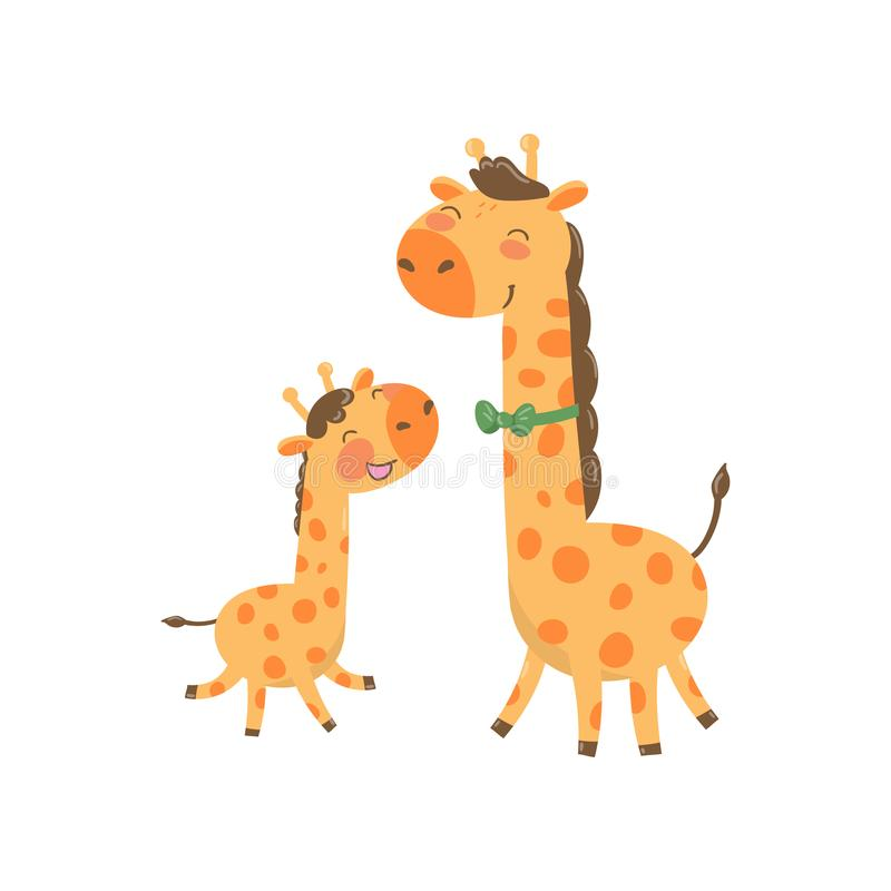 Cartoon animal family portrait. Father giraffe with green bow-tie and his funny baby. Happy parent and child. Flat royalty free illustration