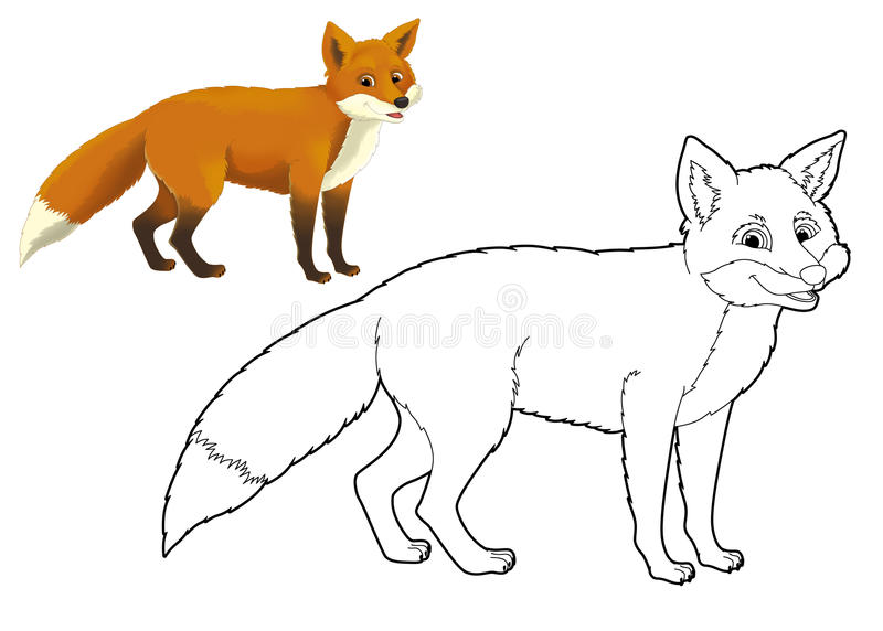 Download Cartoon Animal - Fox - Coloring Page Stock Illustration -  Illustration of drawing, happy