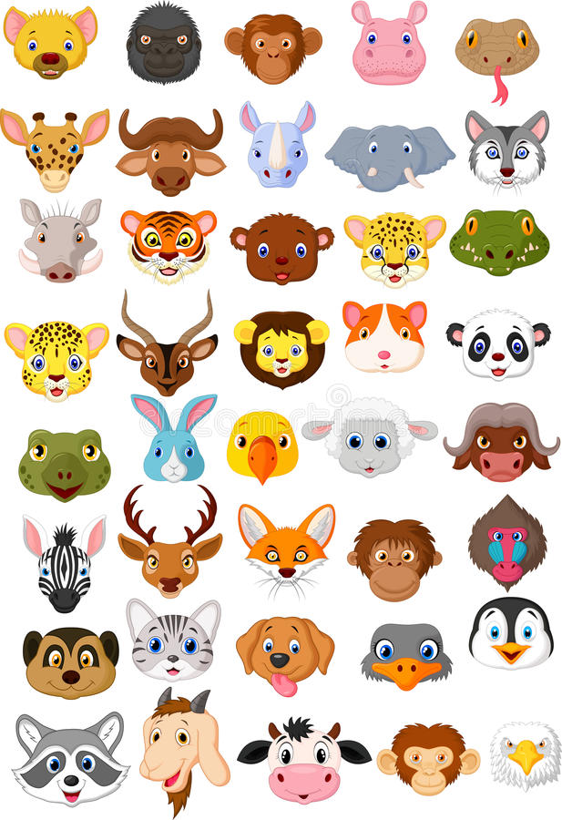 Cartoon animal head collection set stock illustration