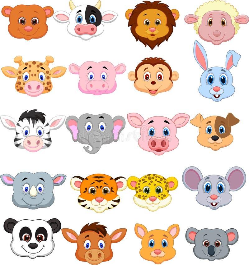 Cartoon animal head icon stock illustration
