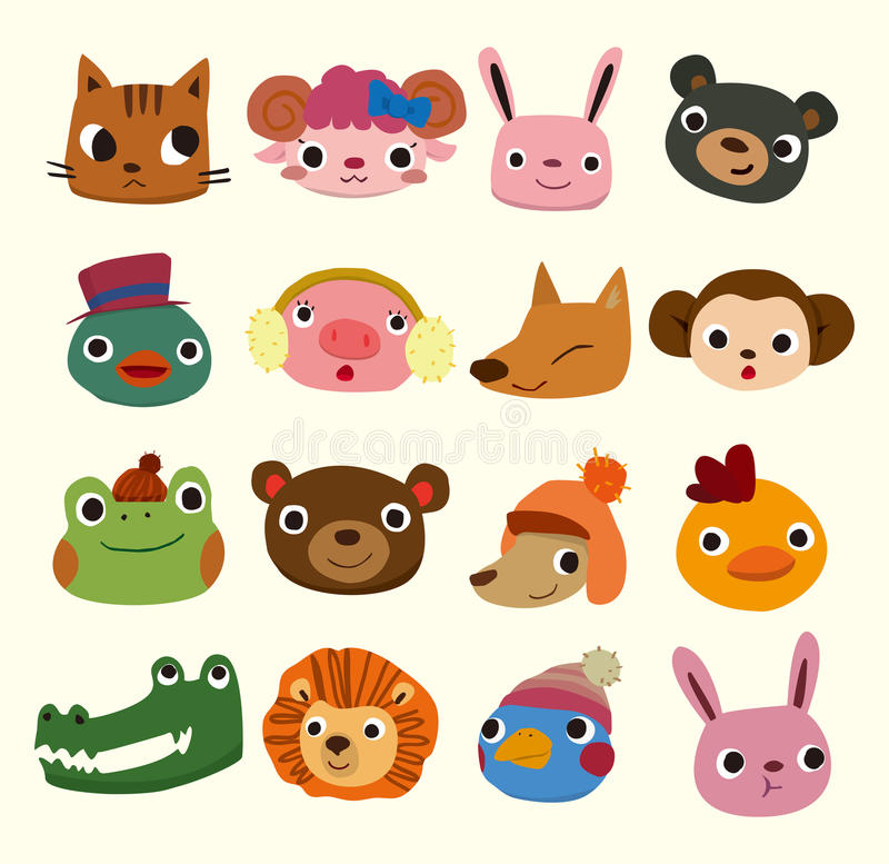 Cartoon animal head icons stock illustration