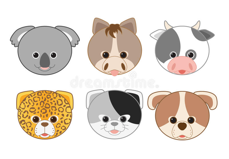 Cartoon Animal Head Icons Collection 2. Cartoon Animal Head Icons farm vector illustration