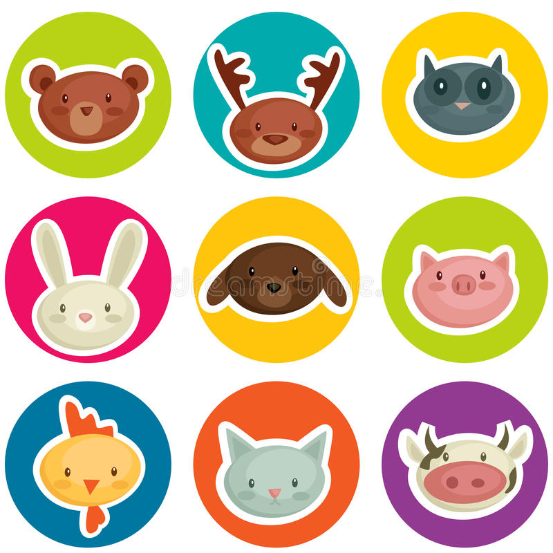 Cartoon animal head stickers vector illustration