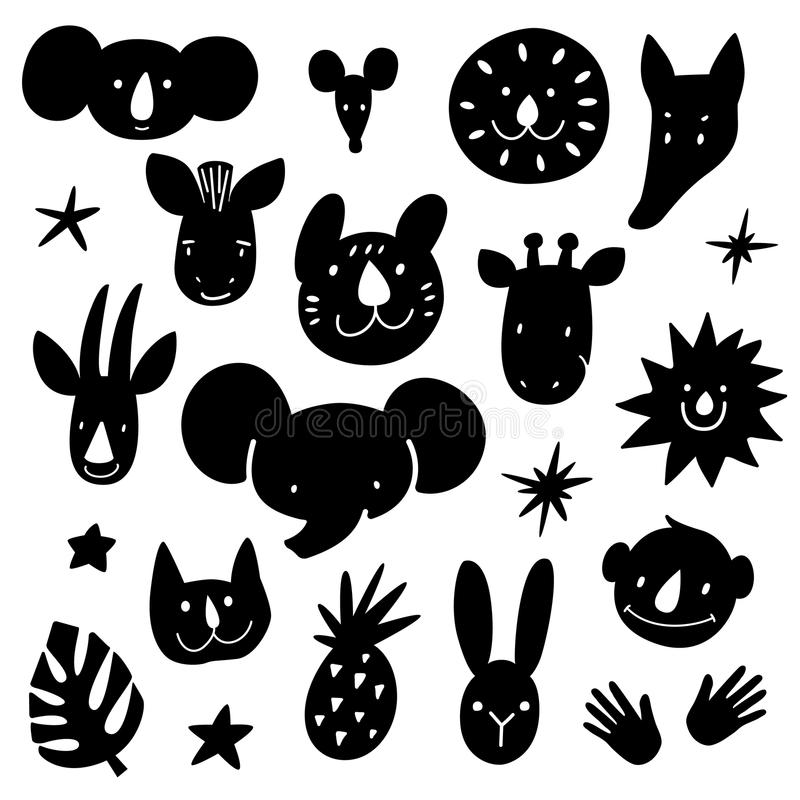 Cartoon animal heads bundle. Modern concept of flat design for kids cards, banners and invitations, stencil path for stock illustration