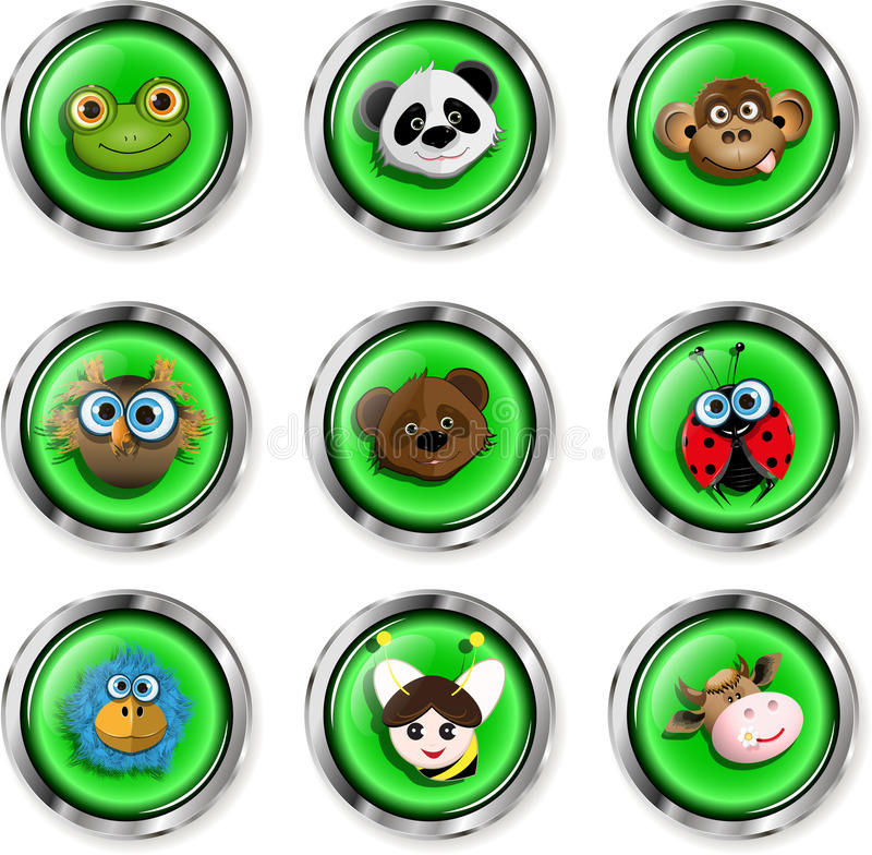 Cartoon animal icons. Illustration, nine buttons with cartoon animal icons stock illustration