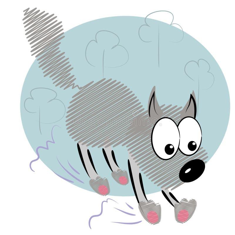 Cartoon Animal Kid In Hurry.cute Wolf  Card Stock Photography