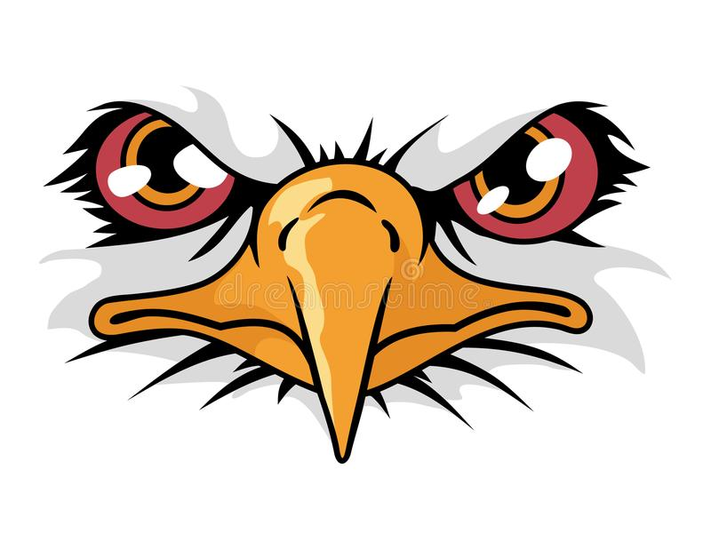 Eagle face cartoon animal mascot character for sport logo. Cartoon animal mascot character for sport logo vector illustration