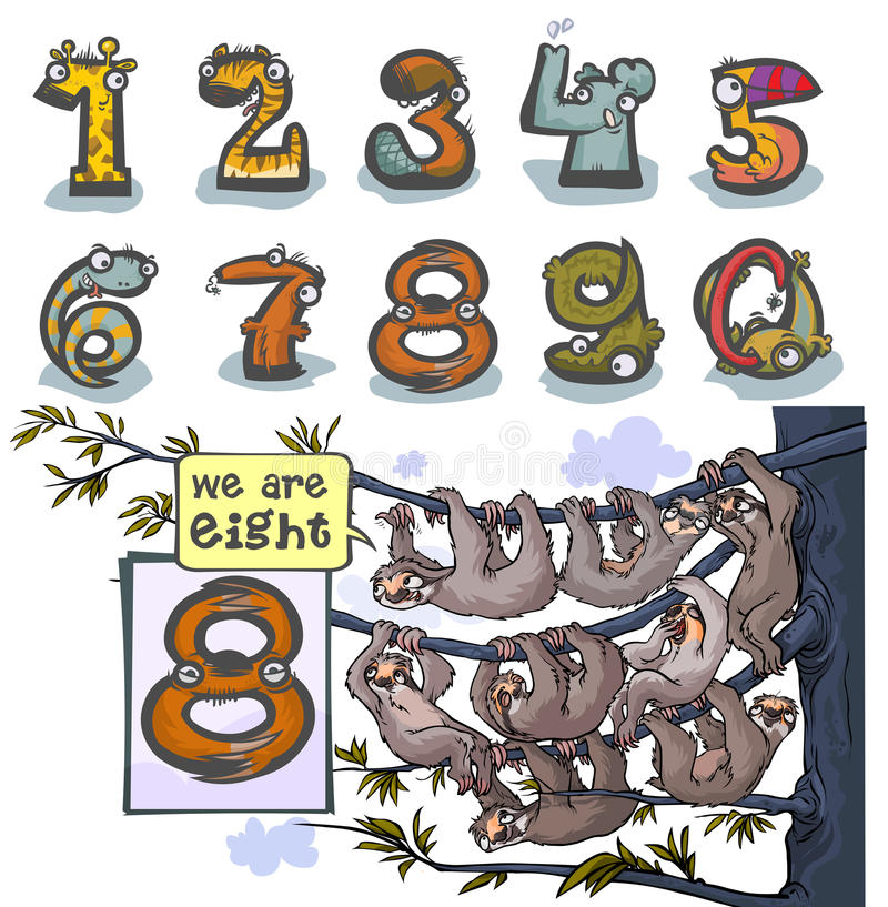 Cartoon Animal number Eight. Cartoon Animal Numbers. With number Eight as a sloths vector illustration