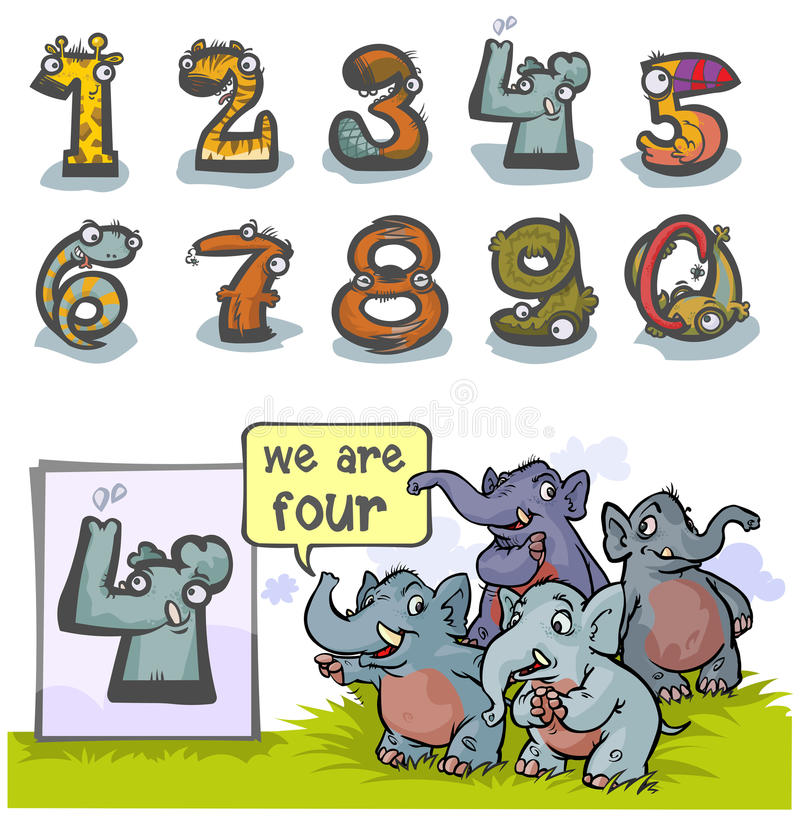 Cartoon Animal number Four. Cartoon Animal Numbers. With number Four as Elephants stock illustration