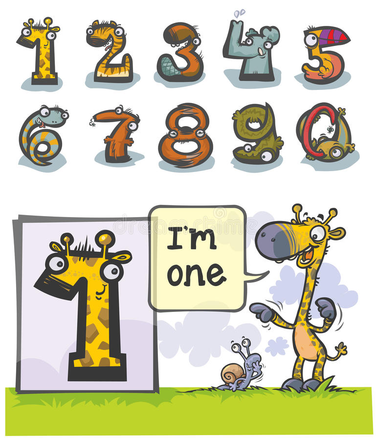 Cartoon Animal number One. Cartoon Animal Numbers. with number One as Giraffe stock illustration