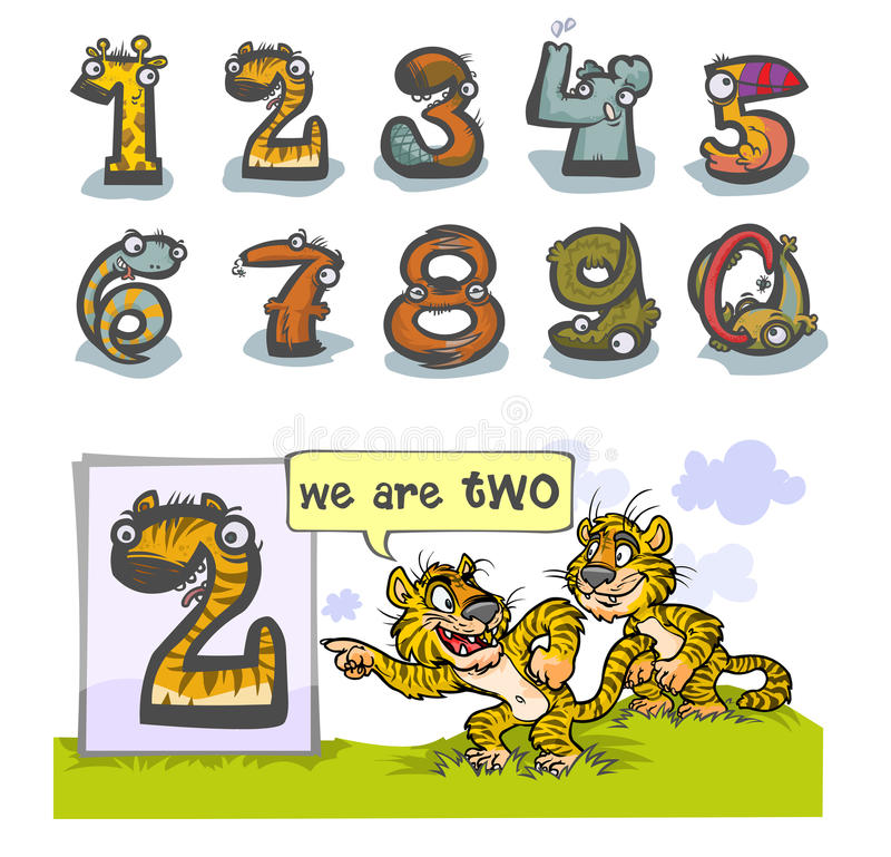 Cartoon Animal number Two. Cartoon Animal Numbers. With number Two as Tigers royalty free illustration