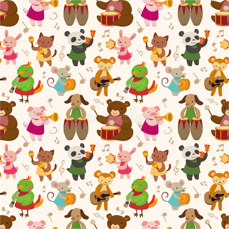 Cartoon animal play music seamless pattern vector illustration
