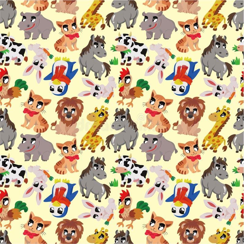 Cartoon animal seamless pattern vector illustration