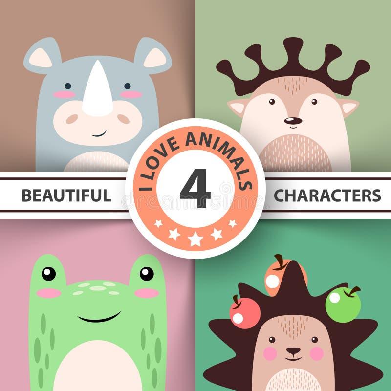 Cartoon animal set - rhino, deer, frog, hedgehog vector illustration