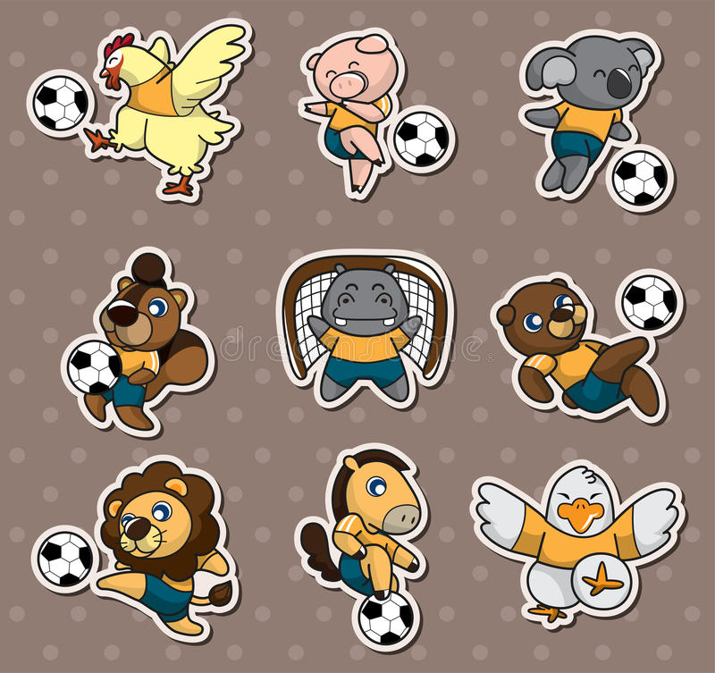 Cartoon Animal Soccer Player Stickers Royalty Free Stock Photography