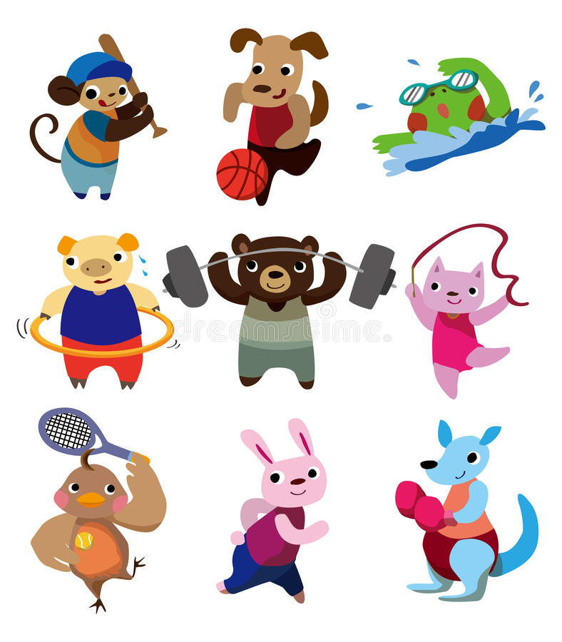 Cartoon animal sport vector illustration