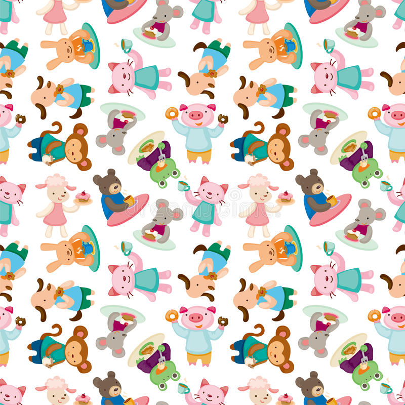 Cartoon animal tea time seamless pattern stock illustration